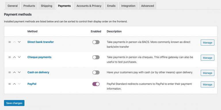 Configuración de PayPal en WooCommerce
