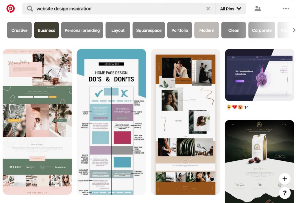 Pinterest, lugar para encontrar inspiración para el diseño de sitios web