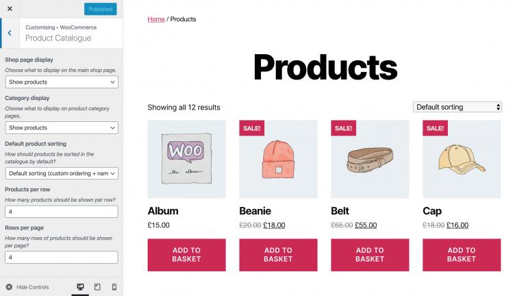 Edición del catálogo de productos para Boutique en línea