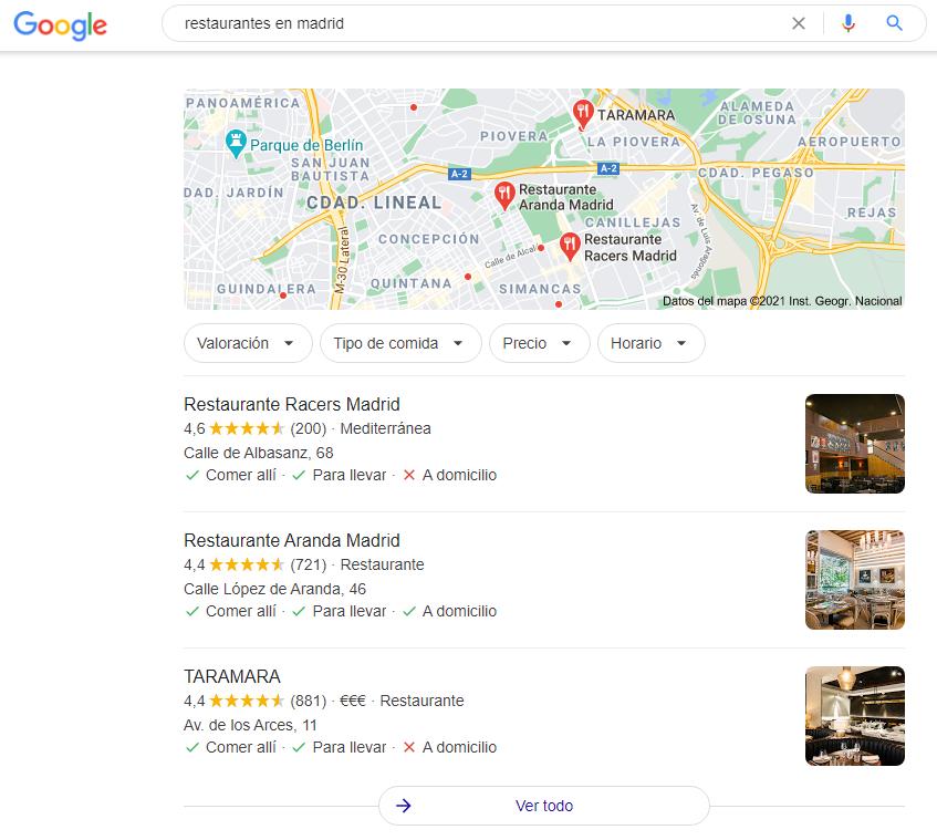 Captura de pantalla mostrando mapa de SEO local en Google