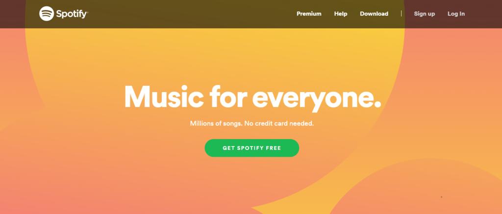 La página de destino y el llamado a la acción de Spotify