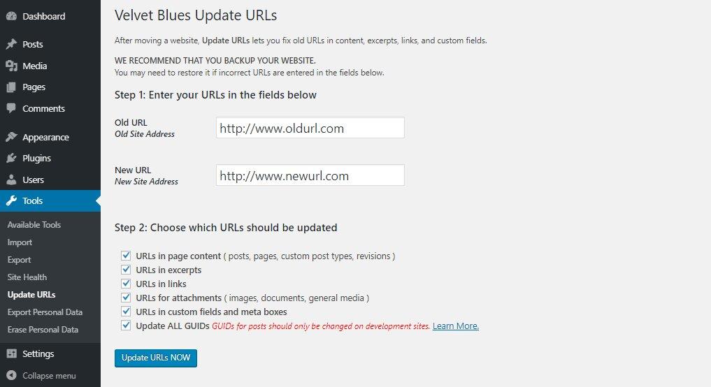 Actualiza las URL de WordPress con el complemento Velvet Blues Update URLs