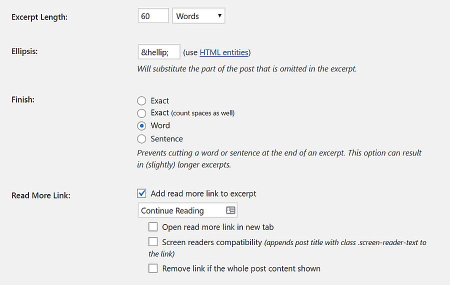 Personalizar la configuración del complemento Extracto avanzado.