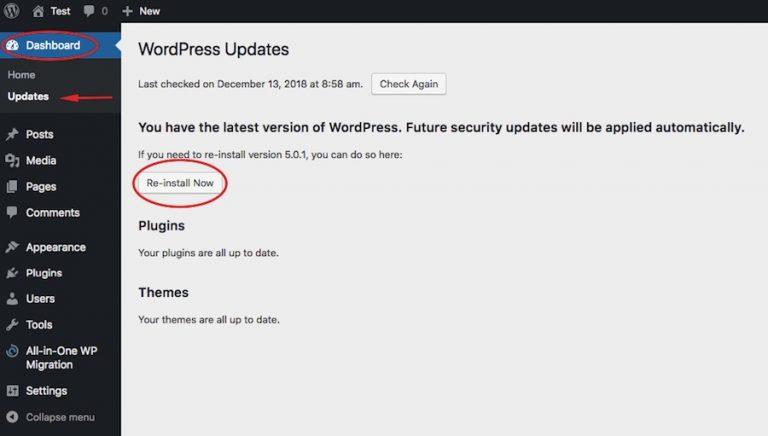 Instrucciones de reinstalación de WordPress
