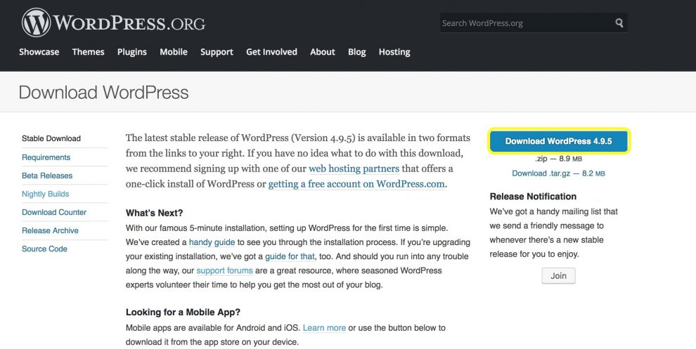 WordPress.org Descargar la página de WordPress
