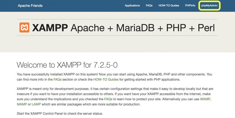 Panel de control XAMPP Botón phpMyAdmin