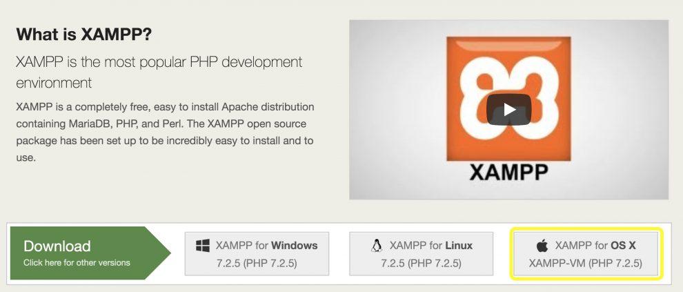 Botón de descarga de XAMPP Mac