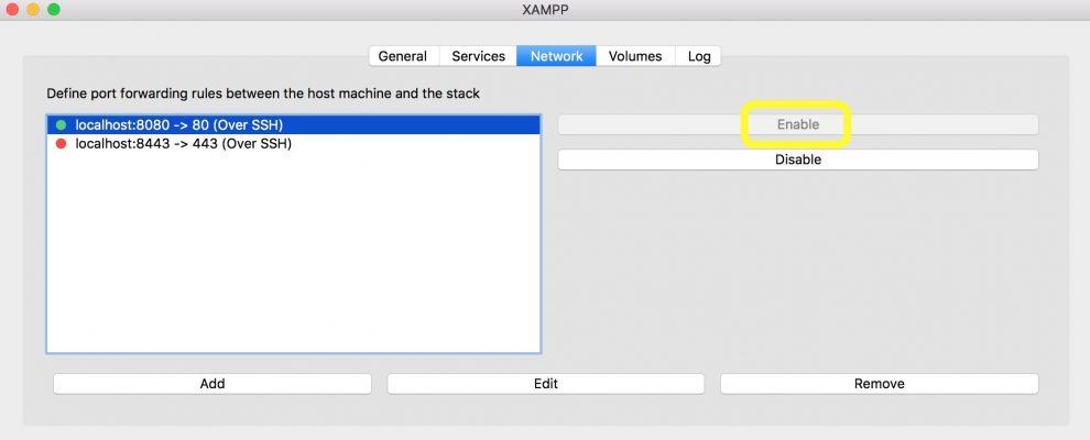 Captura de pantalla de la pestaña de red XAMPP
