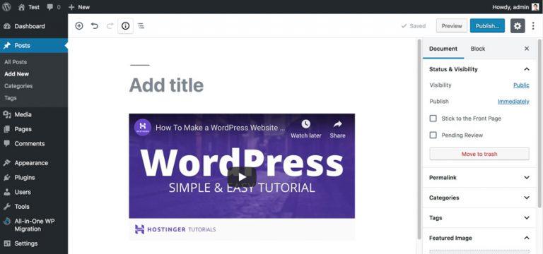 Incrustar video en WordPress Post Editor