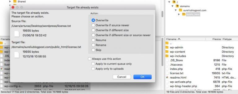WordPress sobrescribe los archivos existentes a través de FTP