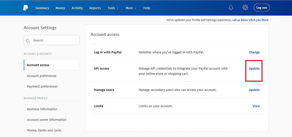 Esta imagen le muestra el botón Actualizar de la opción de acceso a la API.