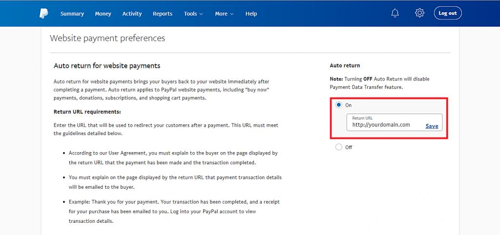 Esta imagen muestra cómo habilitar la opción de devolución automática de PayPal para pagos en el sitio web y agregar la URL de devolución.