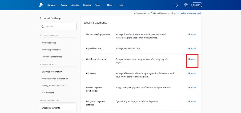 Esta imagen le muestra el botón Actualizar de la opción de preferencias del sitio web para obtener el token de identidad de PayPal.