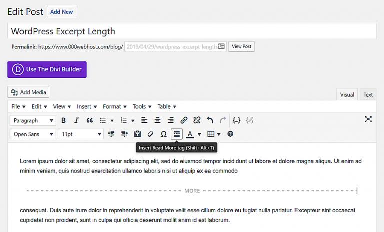 Insertar una etiqueta Leer más en una publicación de WordPress.