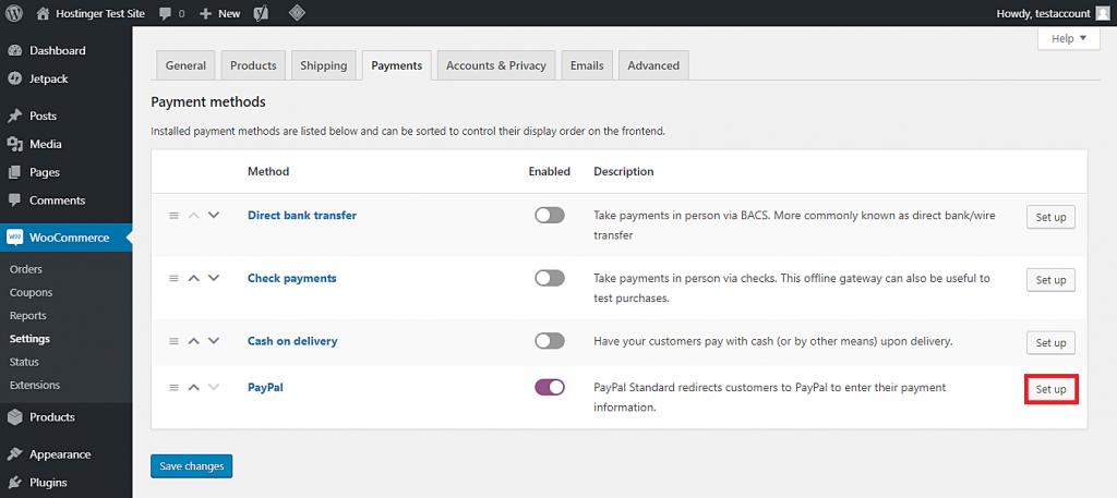 Esta imagen le muestra cómo habilitar PayPal como la pasarela de pago de su tienda WooCommerce y acceder a su página de configuración.