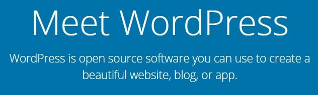 La página de inicio de WordPress.