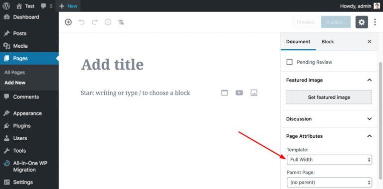 WordPress elige plantilla de ancho completo