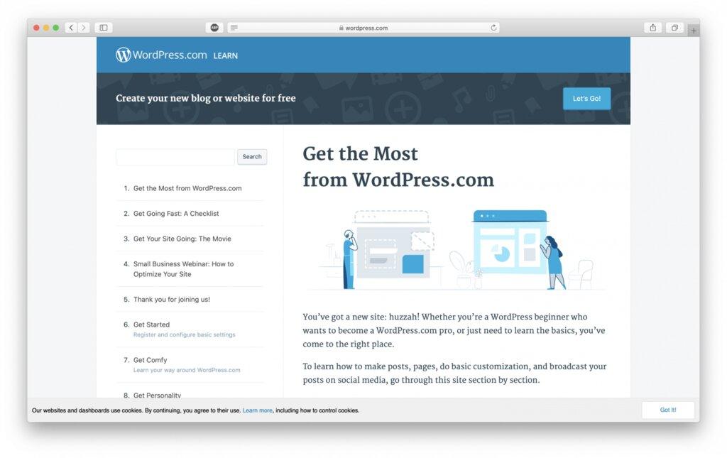 wordpress.com para ayudar a los nuevos usuarios a usar wordpress