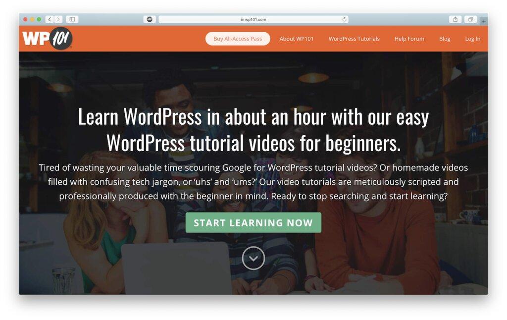 sitio wp101 que ofrece cursos de wordpress
