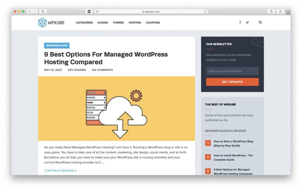 Sitio web de WPkube para aprender WordPress