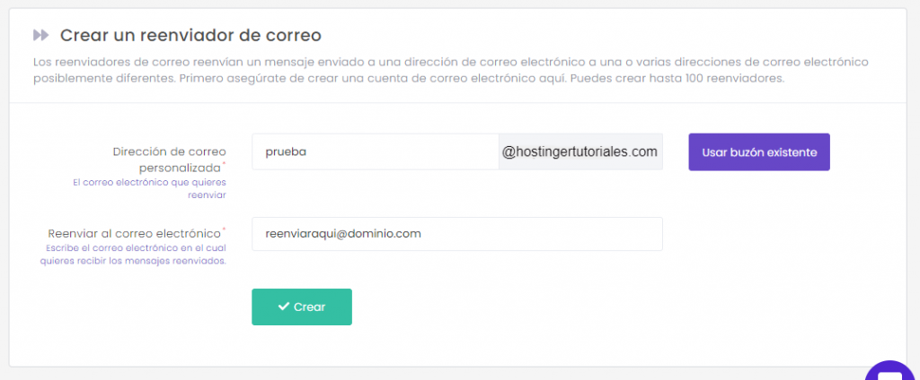 Configuración de un reenviador de correo electrónico