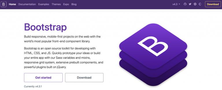 página de inicio de bootstrap