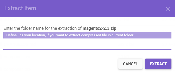 extraer el archivo comprimido magento en el administrador de archivos