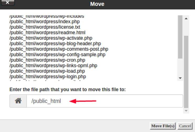 Especifique la ubicación donde se moverán los archivos