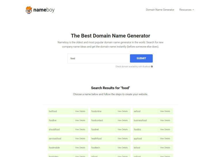 Name Boy como uno de los mejores generadores de nombres de dominio.