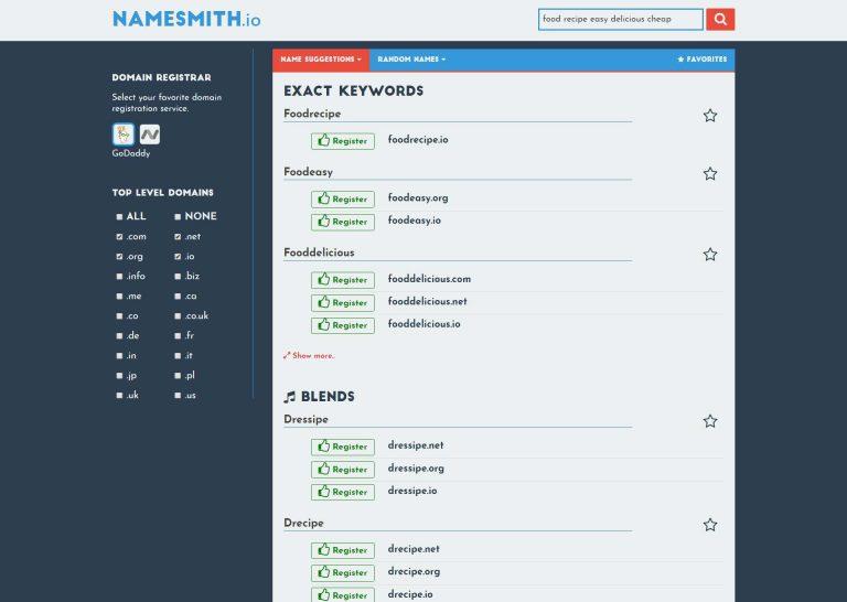 Nombre a Smith como uno de los mejores generadores de nombres de dominio.