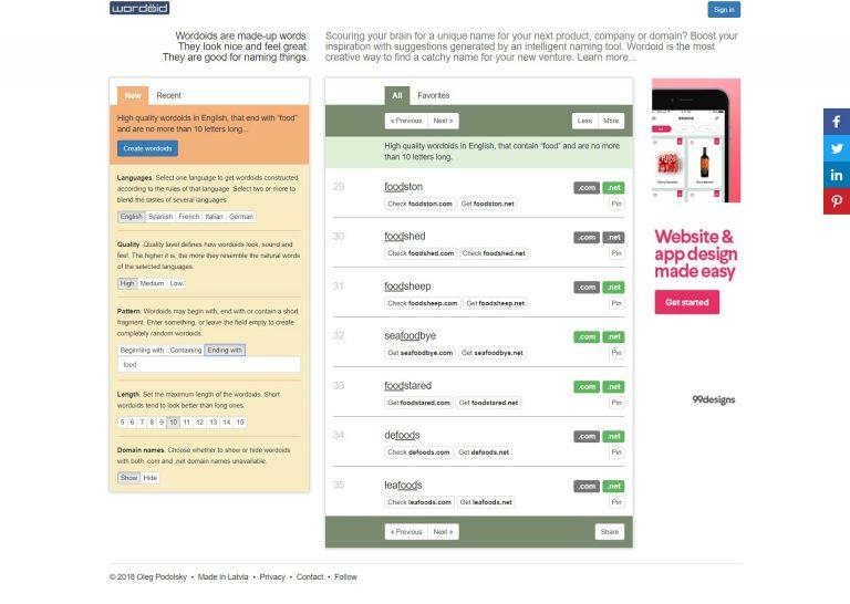 Wordoid como uno de los mejores generadores de nombres de dominio.