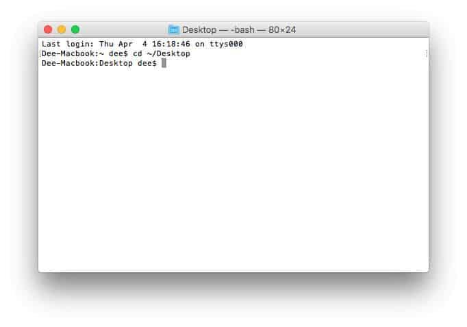 Cambiar directorio usando la terminal MacOS