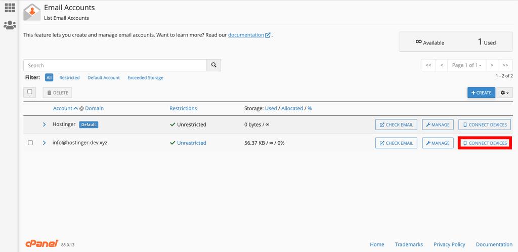 Ver la lista de cuentas de correo electrónico en cPanel.