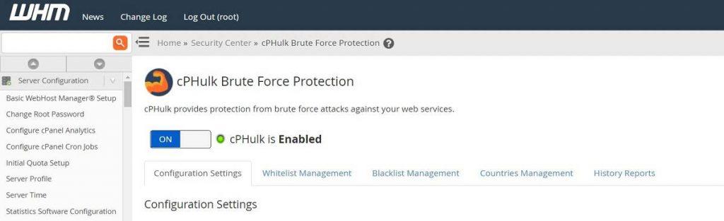 Protección de cPHulk para todos los cPanels