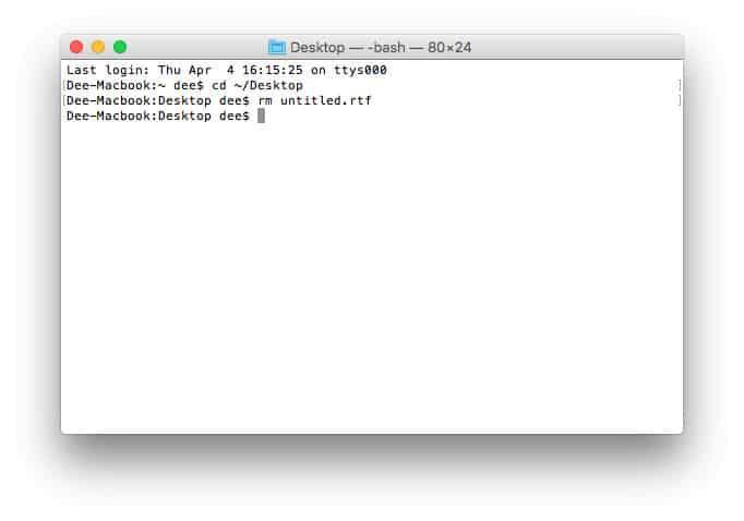 Eliminación de un archivo usando el terminal MacOS