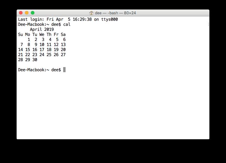 Visualización del calendario en Terminal