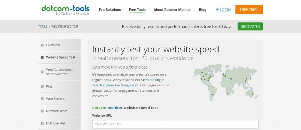 Herramienta de prueba de velocidad del monitor dotcom