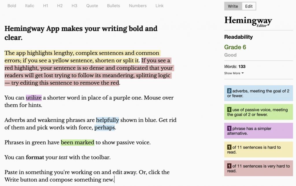 Aplicación Hemingway para hacer su escritura concisa