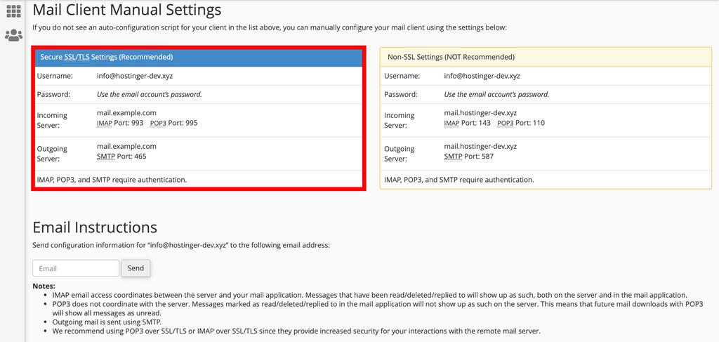 Copiar los detalles del correo electrónico en cPanel.