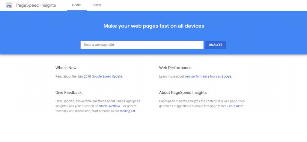 Información sobre la velocidad de la página de Google