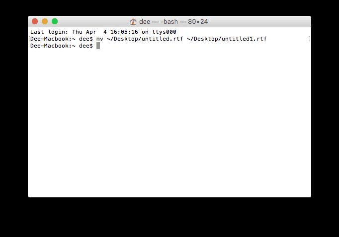 Cambiar el nombre de un archivo usando la terminal MacOS
