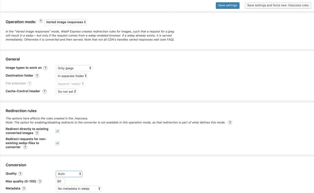 Configuración de WebP express en WordPress