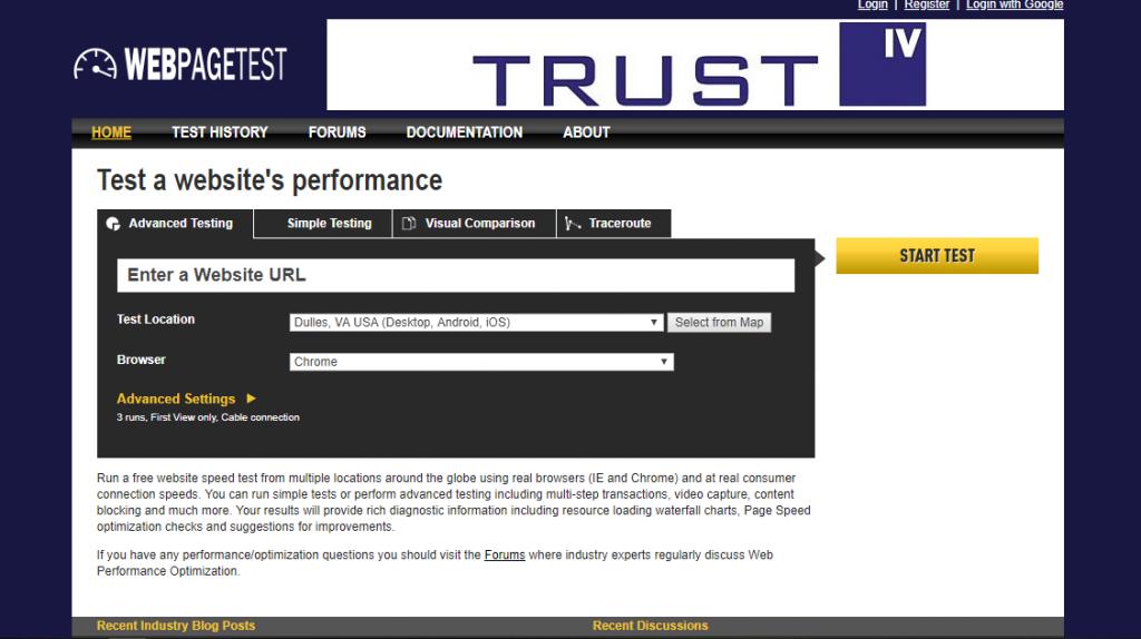 herramienta de prueba de velocidad webpagetest