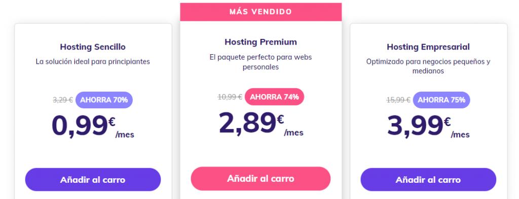Página de precios de alojamiento compartido de Hostinger.