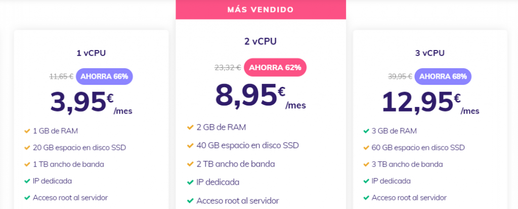 Página de precios de alojamiento VPS de Hostinger.