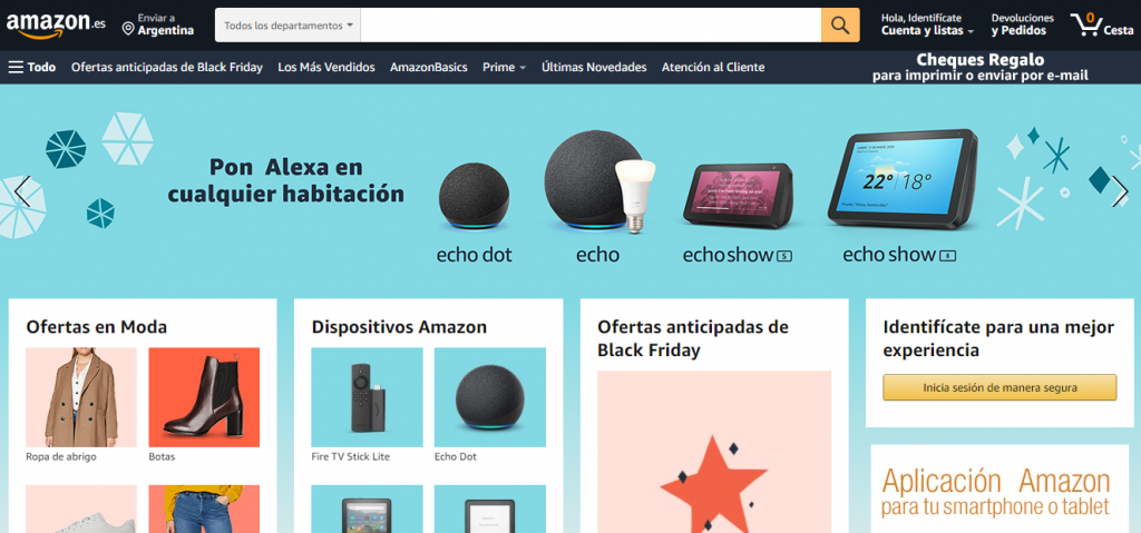 Amazon, uno de los ejemplos de sitios web de comercio electrónico