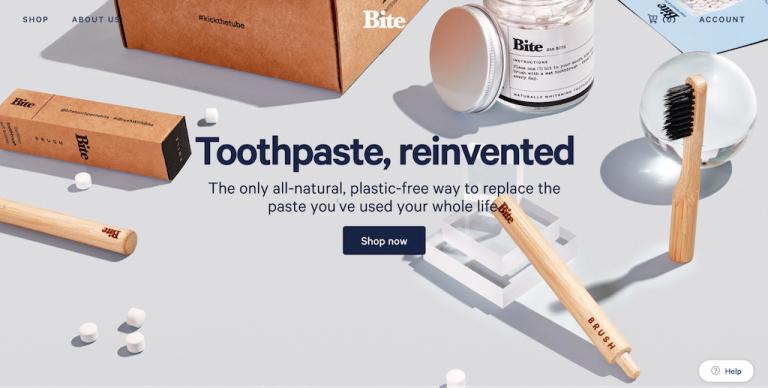 Bite ejemplos de sitios web de comercio electrónico de pasta de dientes
