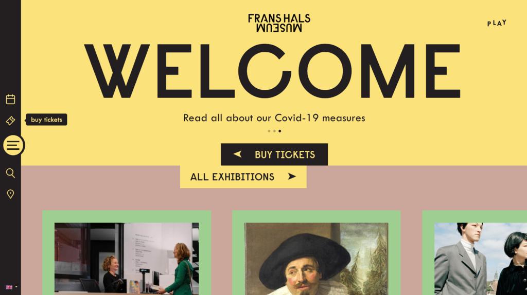 Página de inicio del Museo Frans Hals, ejemplos de sitios web de comercio electrónico