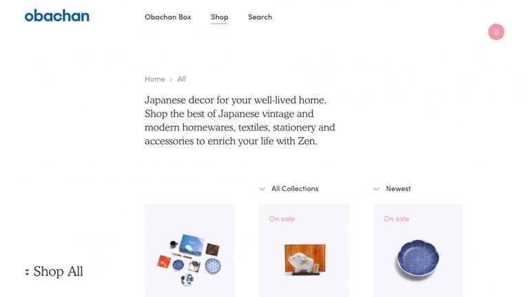 Ejemplos de sitios web de comercio electrónico de Obachan