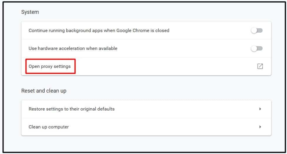 Propiedades de Internet. Abrir la configuración del proxy en Chrome